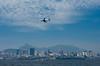 A passenger plane landing at Rio de Janeiro, Brazil.