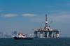 An oil drilling platform in Guanabara Bay, Rio de Janeiro, Brazil.
