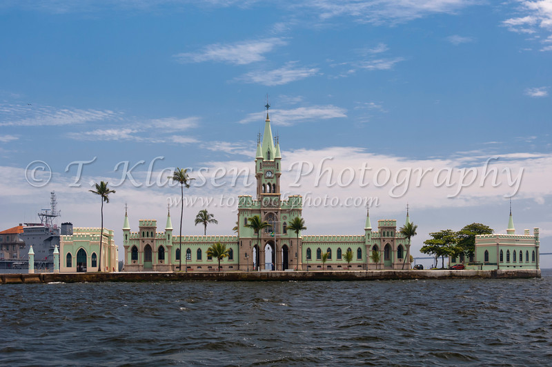 Ilha Fiscal  castle, a former Customs House of neo gothic design in Guanabara Bay, Rio De Janeiro, Brazil.