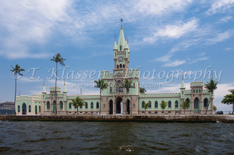 Ilha Fiscal  castle, a former Customs House of neo gothic design in Guanabara Bay, Rio De Janeiro, Brazil.
