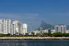 The Rio de Janeiro skyline from Guanabara Bay, Brazil.