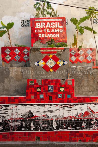 The Selaron monument near the Selaron stairs in Rio de Janeiro, Brazil.