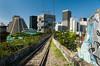 The Bond tram or streetcar travels between the Santa Teresa district and downtown Rio de Janeiro, Brazil.