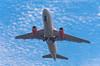 A commercial passenger plane landing at Rio de Janeiro, Brazil.
