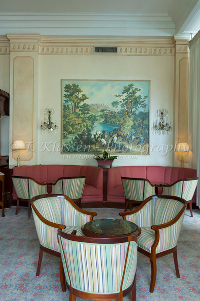 Interior decor of the reception area at the Copacabana Palace Hotel in Rio de Janiero, Brazil.