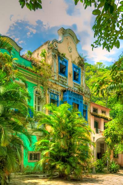 The colonial architecture of the Largo Boticario in downtown Rio De Janeiro, Brazil.