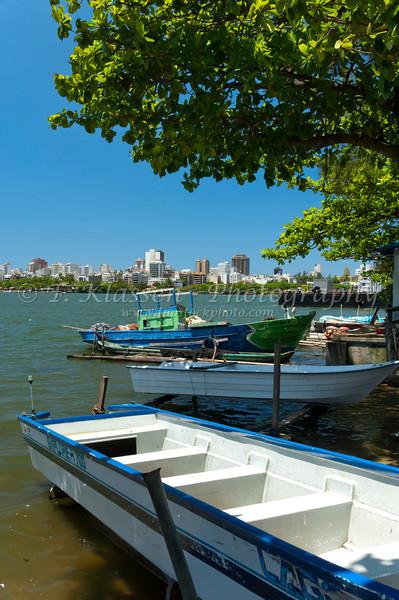 Fishing boats  and the Rodrigo de Freitas Lagoon in Rio de Janeiro, Brazil.