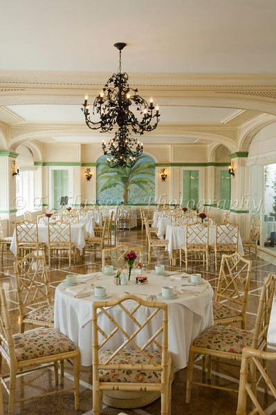 Interior decor of the Copacabana Palace Hotel dining room in Rio De Janeiro, Brazil.