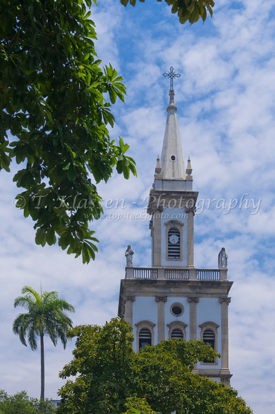 The Matriz de Nossa Senhora da Gloria church in Largo do Marchado Square in Downtown Rio De Janeiro, Brazil.