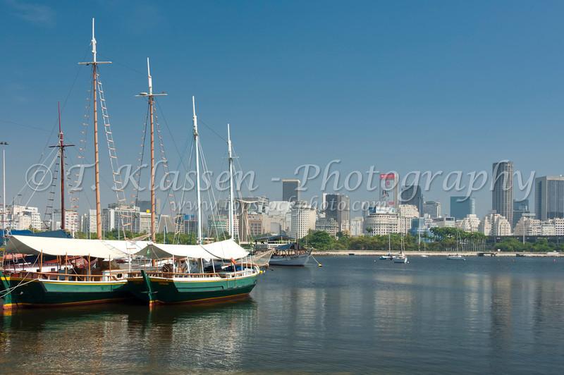 Excursion boats at the Gloria Marina in downtown Rio de Janeiro, Brazil.