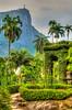 Tropical vegetation covers a pagoda at the Botanical Gardens in Rio de Janeiro, Brazil.