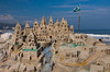 A large sandcastle on Copacabana Beach in Rio de Janeiro, Brazil.