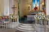 Interior decor of the Nossa Senhora da Penha de Franca church in Rio De Janeiro, Brazil.