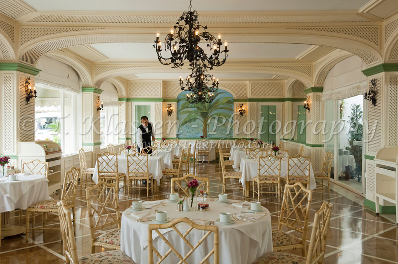 Interior decor of the Copacabana Palace Hotel dining room in Rio De Janeiro, Brazil.