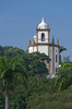 Tropical vegetation and the Nossa Senhora Gloria do Outeiro church in Rio De Janeiro, Brazil.