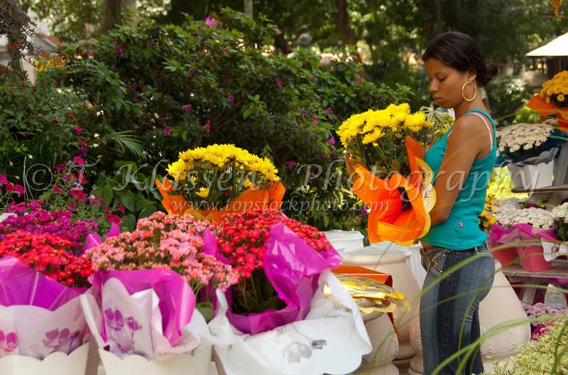 A colorful outdoor flower shop in downtown Rio De Janeiro, Brazil.