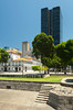 A city square and office buildings in downtown Rio de Janeiro, Brazil.