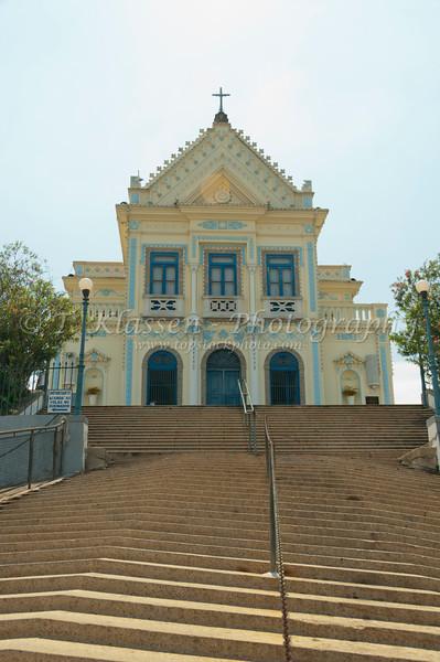 The front exterior of the Nossa Senhora da Penha de Franca church in Rio De Janeiro, Brazil.