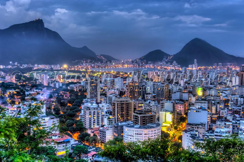 Views of the Leblon and Ipanema beaches illuminated at night in Rio de Janeiro, Brazil.