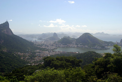 View of the Corovado and Sugar Loaf Moutain from the Tijuca Forest, Rio de Janeiro