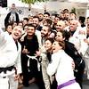 Owner of the Paradigm Brazilian Jiu Jitsu Joseph Sylvester takes a selfie with class before they start. SUN/David H. Brow