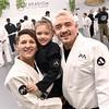 Paradigm Brazilian Jiu Jitsu owners with their daughter, L-R, Corina Sylvester, Maya Sylvester 6, and Joseph Sylvester. SUN/David H. Brow