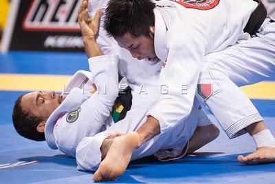 Samuel Braga from Gracie Barra vs. Yoshihiko Matsumoto from Sogo Kakutogidojo in the Black Belt Light Feather Quarter Finals.