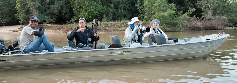 Becky on the Cuiaba River. With Marcos Felix and Suzanne Johnson.
