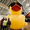 Park Commissioner Jim McGrath, Diane Burnette and Mayor Stephen DiNatale pose with the Civic Days inflatable duck during Breakfast with the Bunny at the Fitchburg Senior Center on Saturday, April 8, 2017. Proceeds from the event with go towards Fitchburg's annual Civic Days events. SENTINEL & ENTERPRISE / Ashley Green