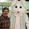 Mayor Stephen DiNatale shares a laugh with the Easter Bunny during Breakfast with the Bunny at the Fitchburg Senior Center on Saturdya, April 8, 2017. Proceeds from the event with go towards Fitchburg's annual Civic Days. SENTINEL & ENTERPRISE / Ashley Green