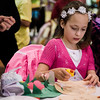 Alexandra Hartly, 6, works on spring crafts during the Breakfast with the Bunny at the Fitchburg Senior Center on Saturday, April 8, 2017. Proceeds from the event will go towards Fitchburg's annual Civic Days events. SENTINEL & ENTERPRISE / Ashley Green