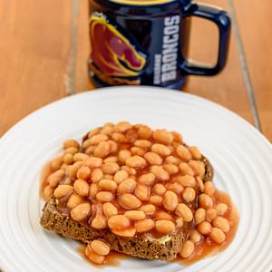 Baked beans on Rye toast