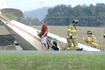 Emergency personnell along with employees of the Penn Valley Airport responded to a plane crash on Friday afternoon at the airport.