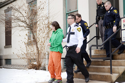 Miranda Barbour is led out of the Northumberland County Courthouse, by Sheriff Chad Reiner, after her preliminary hearing for the alleged murder of Troy LaFerrara on Friday morning.