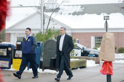 Ed Greco, the attorney for Miranda Barbour, enters the Northumberland County Courthouse before Barbour's preliminary hearing on Friday morning in Sunbury.