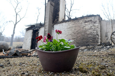 A flower pot was left as a small memorial at 60 S. Smith Road in Rush Township on Friday afternoon where a fire killed three young children early Friday morning.