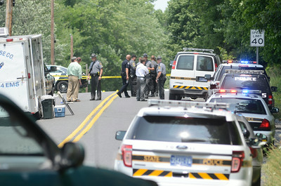 Numerous police officers investigate a shooting on Mile Post Road on Tuesday afternoon.