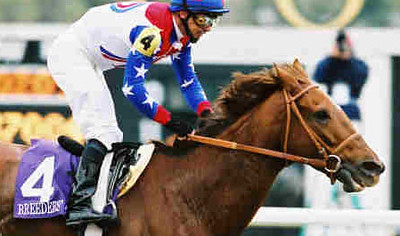 Reigning Horse of the Year Azeri, with Mike Smith up remains undeafeated since her victory in the Breeders Cup Distaff.