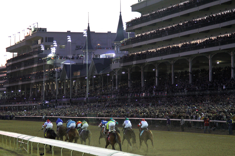 The horses ran down the home stretch to finish the Breeders' Cup Classic (G. I) at Churchill Downs on November 6, 2010. Zenyatta brought on a late comeback, but lost to Blame and Garrett Gomez by a nose.