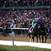 Racing fans cheered as Zenyatta and jockey Mike Smith took the track before the Breeders' Cup Classic (G. I) at Churchill Downs on November 6, 2010.