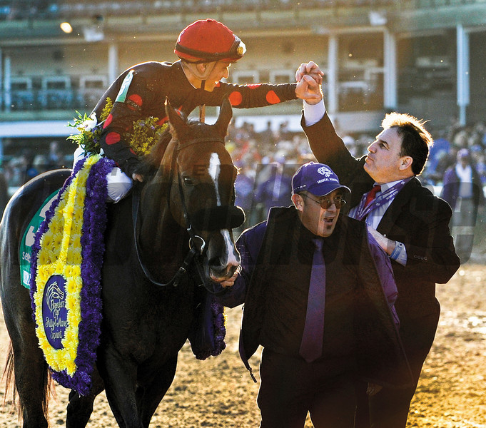 Musical Romance with jockey Juan Leyva up wins the Sentient Jet Breeders' Cup Filly and Mare Sprint.<br /> Photo by Skip Dickstein