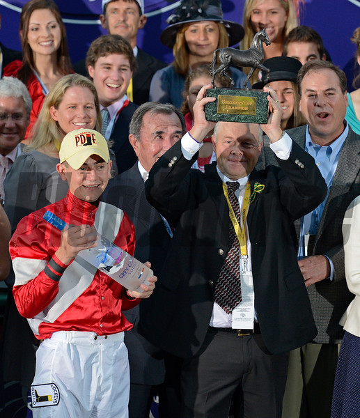 Caption: trainer Ian Wilkes celebrates<br /> Fort Larned with Brian Hernandez Jr. wins the Breeders' Cup Classic.<br /> Breeders' Cup races at Santa Anita near Arcadia, California, on Nov. 3, 2012.<br /> BCRACES2012        Classic  image891<br /> Photo by Anne M. Eberhardt