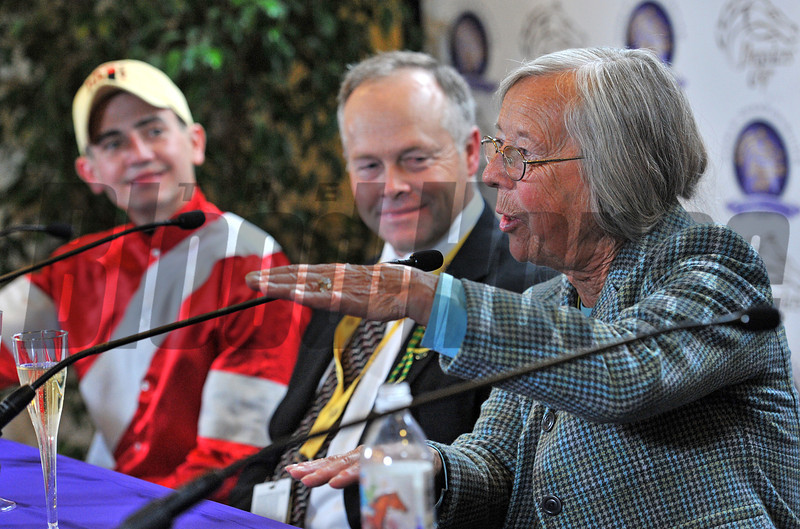 Janis Whitham, owner of Fort Larned, with Ian Wilkes, trainer and jockey Brian Hernandez, at the Breeders Cup Classic winners press conference...© 2012 Rick Samuels/The Blood-Horse