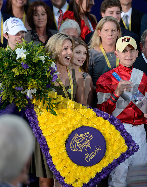 Caption: trainer Ian Wilkes family, l-r, Brody, Tracie, and Shelby with jockey Brian Hernandez Jr.<br /> Fort Larned with Brian Hernandez Jr. wins the Breeders' Cup Classic.<br /> Breeders' Cup races at Santa Anita near Arcadia, California, on Nov. 3, 2012.<br /> BCRACES2012        Classic  image859<br /> Photo by Anne M. Eberhardt