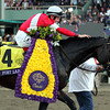 Brian Hernandez Jr. celebrates aboard Fort Larned after winning the Breeders' Cup Classic at Santa Anita Park on November 3, 2012.<br /> Photo by Chad Harmon