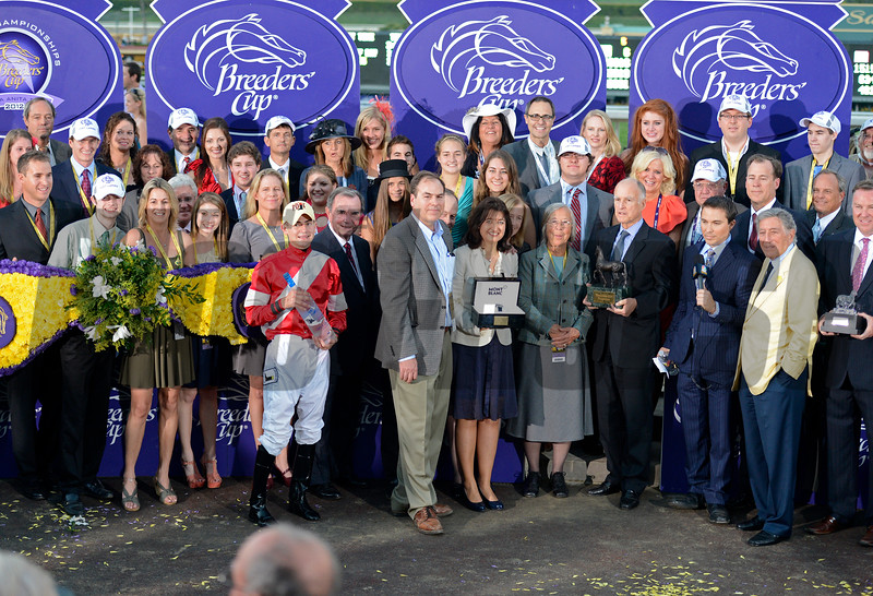 Caption: Fort Larned with Brian Hernandez Jr. wins the Breeders' Cup Classic.<br /> Breeders' Cup races at Santa Anita near Arcadia, California, on Nov. 3, 2012.<br /> BCRACES2012        Classic  image831<br /> Photo by Anne M. Eberhardt