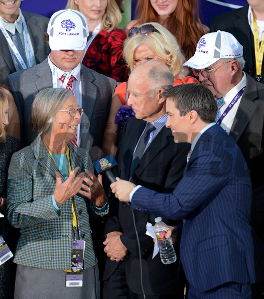 Caption: Janis Whitham is interviewed by Laffit Pincay III, son of Pincay Jr. that rode her champion Bayakoa.  Fort Larned with Brian Hernandez Jr. wins the Breeders' Cup Classic.<br /> Breeders' Cup races at Santa Anita near Arcadia, California, on Nov. 3, 2012.<br /> BCRACES2012        Classic  image870<br /> Photo by Anne M. Eberhardt