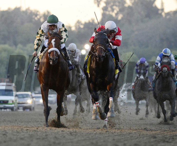 Fort Larned, winner of the Woodward at Saratoga, with jockey Brian Hernandez Jr.,  right leads Mucho Macho Man with jockey Mike Smith to the wire in The Breeders' Cup Classic at Santa Anita Park in Arcadia, California November 3, 2012.  Photo by Skip Dickstein