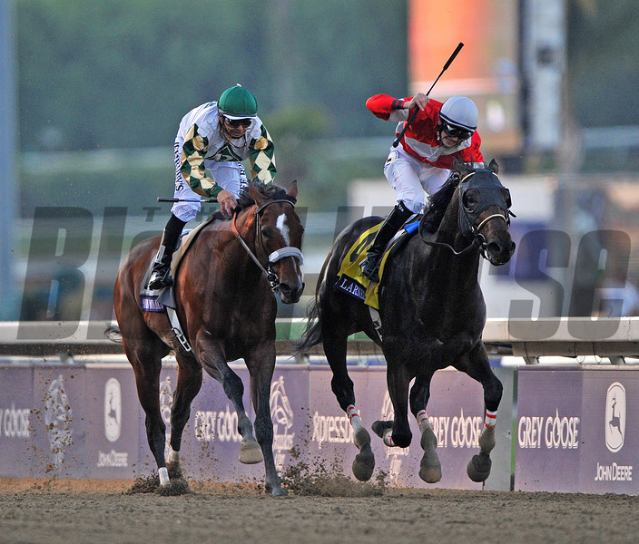 Fort Larned, Brian Hernandez up, holds off Mucho Macho Man nd Mike Smith, to win the $5 million Breeders  Cup Classic....<br /> © 2012 Rick Samuels/The Blood-Horse