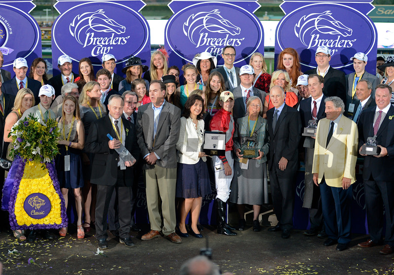 Caption: Fort Larned with Brian Hernandez Jr. wins the Breeders' Cup Classic.<br /> Breeders' Cup races at Santa Anita near Arcadia, California, on Nov. 3, 2012.<br /> BCRACES2012        Classic  image921<br /> Photo by Anne M. Eberhardt